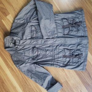 Maurices gray moto cargo jacket blazer zip & snap